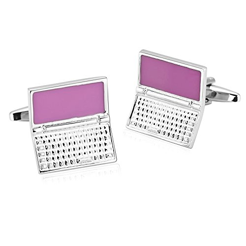 - Gnzoe Stainless Steel Men's Silver Pink Fashion Laptop Computer Shirt Cufflinks with Gift Box