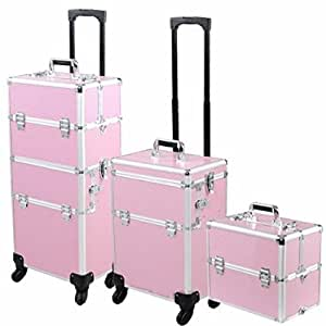 UNITECH 4-Wheel Rolling 2in1 Makeup Train Cosmetic Case Pink