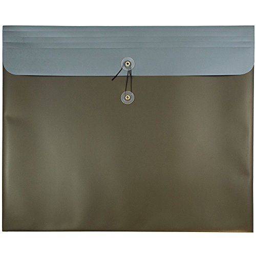 JAM PAPER Plastic Envelopes with Button & String Tie Closure - Large Booklet - 15 x 18 - Metallic Desert Sand - 12/Pack by JAM Paper