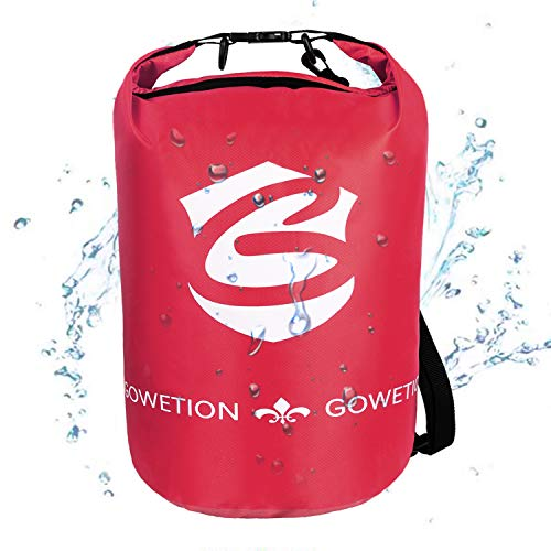 GOWETION Floating Waterproof Dry Bag with Shoulder Strap Roll Top Sack Keeps Gear Dry for Kayaking, Rafting, Boating, Swimming, Camping, Hiking, Beach, Fishing (Red-10L)