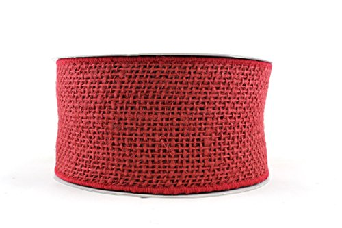 Burlap Wired Ribbon 2-1/2''X10 Yards-Red by May Arts