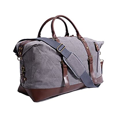 435672d81c Oflamn Large Canvas Leather Weekender Overnight Travel Duffel Bag