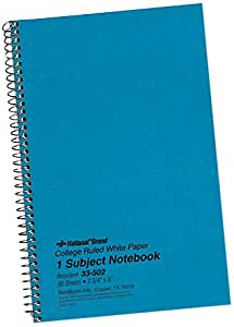 National Brand Kolor Kraft Cover Notebook, College, Blue, 1-Subject, 9.5 x 6 Inches, 80 Sheets (33560)