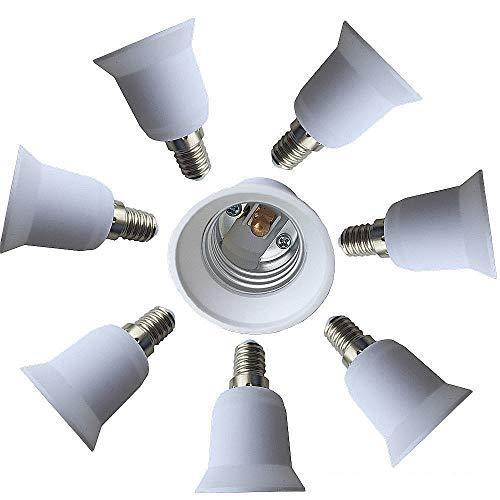 Price comparison product image Eleidgs 8 PCS Bulb Holder E14 to E27 Adapter Converter - E14 Light Socket to E26 Light Bulb Base Socket