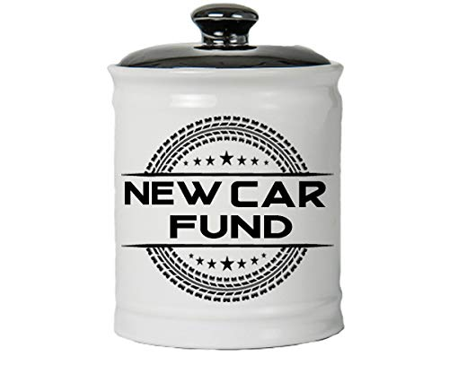 Cottage Creek Gifts for Men New Car Fund Jar Round Car Fund Piggy Bank/Decorative Jar Car Coin Bank Guy Gifts [White]