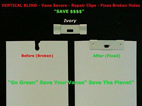 36 Pack VERTICAL BLIND Vane Saver ~ Ivory Curved Repair Clips ~ Fixes Broken Holes