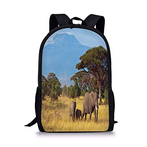 Wild Safari Dog African (School Bags Safari,Elephant Family in front of Kilimanjaro Mounts African Savannahs Wild Nature Scene,Multicolor for Boys&Girls Mens Sport Daypack)