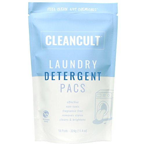 Non Toxic Laundry Detergent Pacs - Natural, Gentle, Free and Clear for Sensitive Skin, Infant, and Babies - Scent Free, Eco Friendly, Baby Safe, Green, Eczema, Powder / Fragrance Free - Cleancult