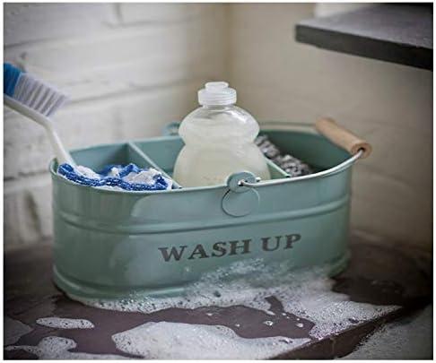 Shabby Chic Vintage by Thorness Kitchen sink blue Enamel Washing Up Sink Tidy