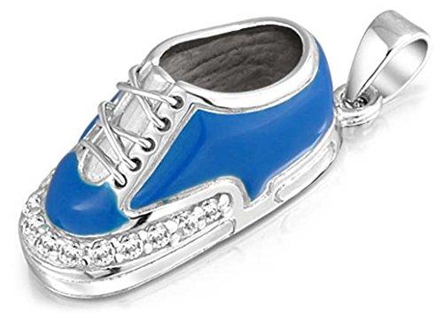 ilver Enamel Blue Boy Sneaker Baby Shoe Charm Pendant (Baby Boy Shoe Pendant)