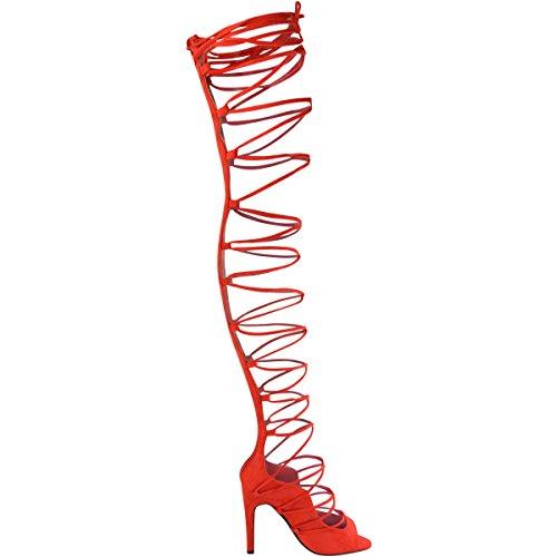 Fashion Thirsty Mujer Por Encima de La Rodilla Cordones Tacón de Aguja Sandalias Sexy Fiesta Botas Números GB Rojo Brillante Ante Artificial