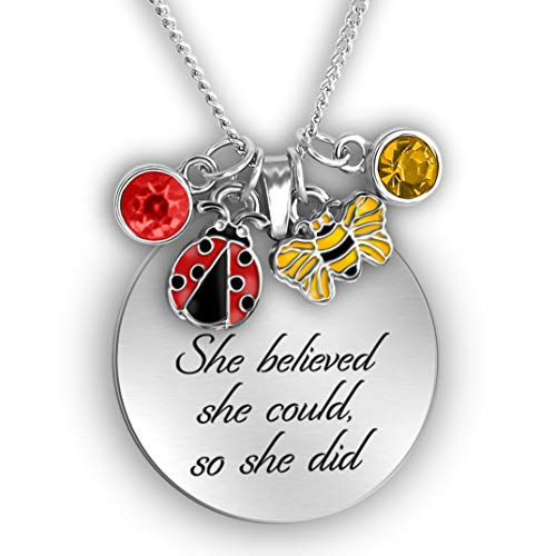 (She Believed She Could So She Did Necklace Engraved Necklace Inspirational Gifts For Women Feminist Gifts Charm Necklace For Women Motivational Gifts For Women Encouragement Gifts Necklace )