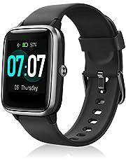 IDEALROYAL Smartwatch met Hartslagmeter, Slim Horloge Fitnesstrackers met Volledig Touchscreen IP68 Waterdichte Slaapmonitor, Stap Calorieteller Sporthorloge voor Heren Dames (Zwart)