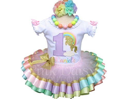 Girls Unicorn Birthday Outfit in Pastel Rainbow and Gold with Personalized Shirt and Ribbon Tutu