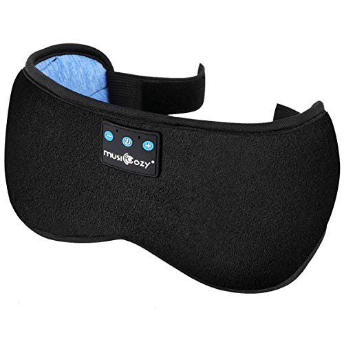 Sleep Mask Bluetooth Headphones, Eye Mask Sleeping Headphone for Women Men, Wireless Music Handsfree Mask, Built-in Speakers Microphone, Washable, Comfort with Adjustable Strap for Sleep Travel(Black)
