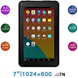 Haehne 7 Inches Tablet PC - Google Android 5.1 Quad Core, 1024 x 600 Screen, 2.0MP 0.3MP Dual Camera, 1G RAM 8GB ROM, 2800mAh, WiFi, Bluetooth (Black)