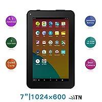 Haehne 7 Inches Tablet PC - Google Android 5.1 Quad Core, 1024 x 600 Screen, 2.0MP 0.3MP Dual Camera, 1G RAM 8GB ROM, 2800mAh, WiFi, Bluetooth (Black)