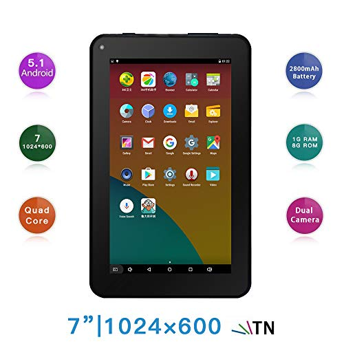 Haehne 7 Inches Tablet PC – Google Android 5.1 Quad Core, 1024 x 600 Screen, 2.0MP 0.3MP Dual Camera, 1G RAM 8GB ROM, 2800mAh, WiFi, Bluetooth (Black)