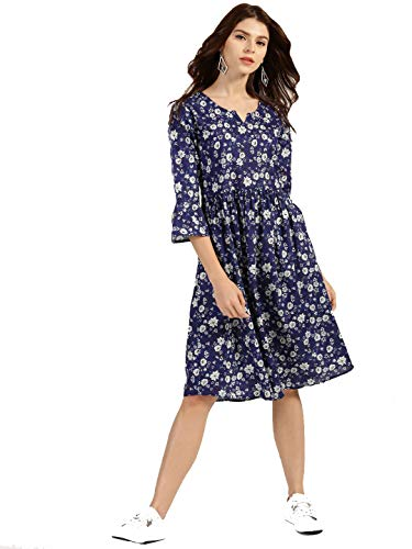 Miss Fame Women's Cotton A-Line Dress (Blue)