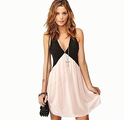 Vestido negro y rosa - de gasa - para chica - escote en forma de V