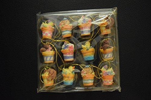 Mini Resin Easter Tree Ornaments Set of 12