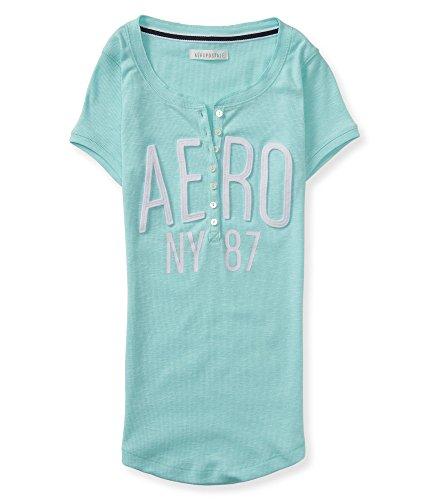 Aeropostale Women's Aero Ny 87 Henley Shirt Xs Sea Spray