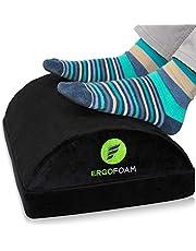 ErgoFoam Adjustable Foot Rest Under Desk for Added Height   Large Premium Velvet Soft Foam Footrest for Desk   Most Comfortable Desk Foot Rest in The World for Back, Lumbar, Knee Pain (Black)