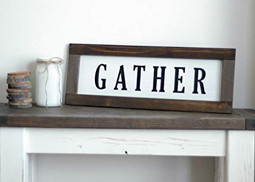 Gather Sign for Home Decor - Farmhouse Wall Art - Solid Wood Dark Walnut Stained Cedar Frame - Painted Antique White - 22x10 Hand Made in USA ()
