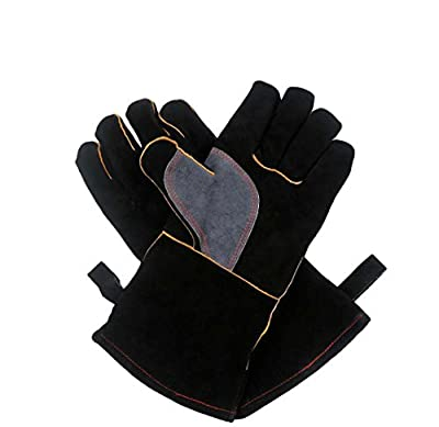 KIM YUAN Extreme Heat/Fire Resistant Gloves Leather with Kevlar Stitching,Perfect for Welding/Oven/Grill/BBQ/Mig/Fireplace/Stove/Pot Holder/Tig Welder/Animal Handling, Black-Grey 14&16inches