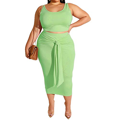 Womens Sexy Plus Size 2 Piece Midi Dress Outfits - Sleeveless Tie Dye Print Tank Crop Top Bodycon Skirts Set Light Green Solid - Skirt Outfit Piece 2