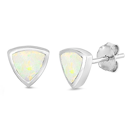 Trillion Cut Lab Created White Opal Stud .925 Sterling Silver Earrings (Cut Lab Trillion)