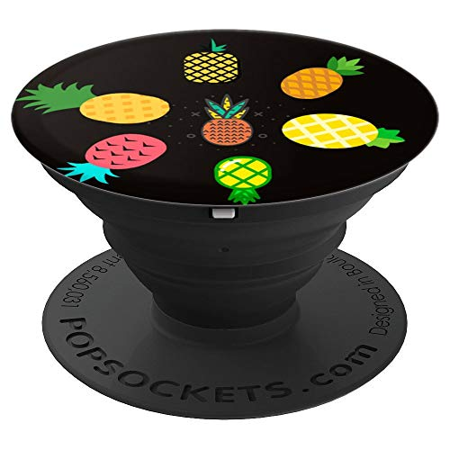 Funny Colorful Pineapple Icons on the Black Pattern - PopSockets Grip and Stand for Phones and Tablets