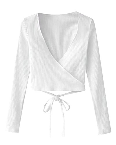 (ZAFUL Womens Knitted Ribbed Wrap Tops Cropped Long Sleeve Blouse T Shirts(White,S))