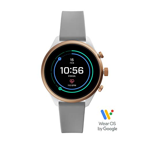 (Fossil Women's Gen 4 Sport Heart Rate Metal and Silicone Touchscreen Smartwatch, Color: Rose Gold, Grey (FTW6025))