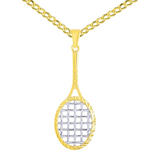 14K Yellow Gold Tennis Racquet with Texture Sports Pendant Necklace, 18