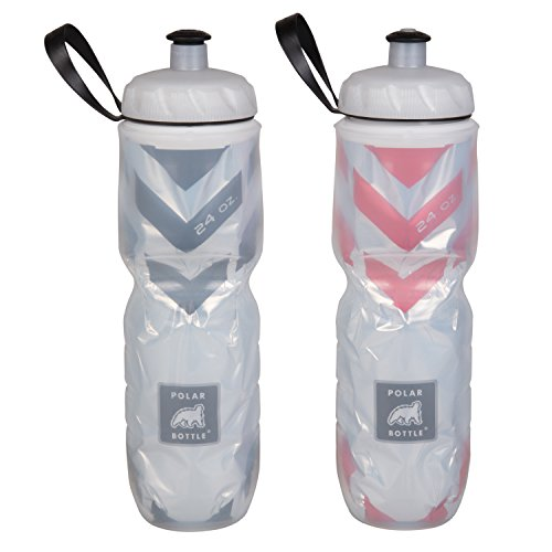 Polar Bottle Insulated Water Bottle - 24 oz, Chevron Red / Chevron Black, 2-Pack Cycling Water Bottle