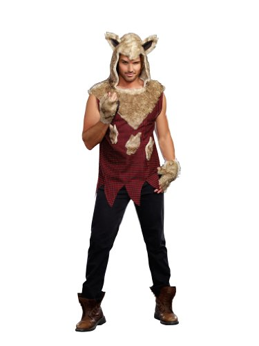 Dreamgirl Men's Big Bad Wolf Costume, Multi-Colored, -