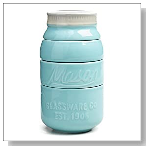 Blue Ceramic Mason Jar Measuring Cups