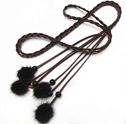 Sinchi Kuzo Female Faux Hairball Tassel FINE Belt for Women Dress Accessories Ladies Knotted Narrow Womens Vintage Chain