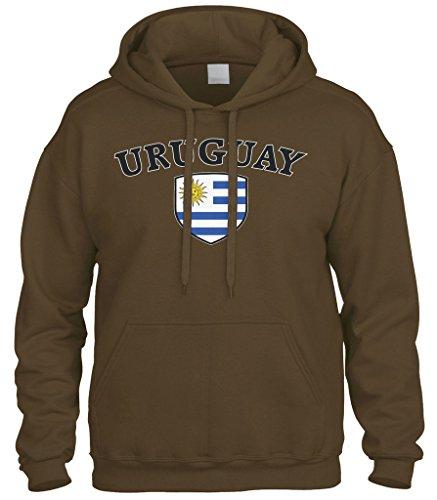 - Cybertela Uruguay Flag Crest Shield Sweatshirt Hoodie Hoody (Brown, 3X-Large)