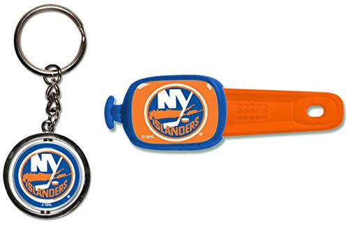 Bundle 2 Items: NHL New York Islanders 1 Key Ring Spinner and 1 Stwrap Bag Id by WinCraft