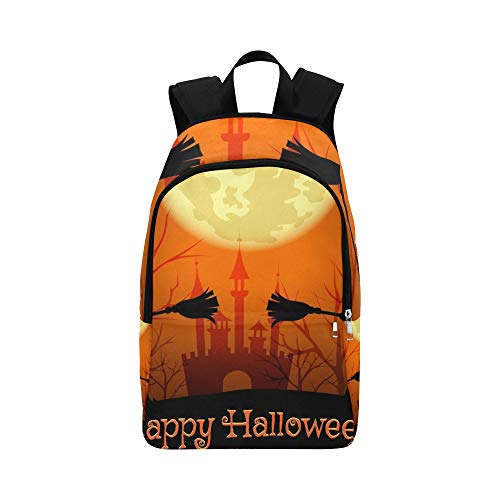 YSWPNA Halloween Silhouettes Witches Lettering Happy Casual Daypack Travel Bag College School Backpack for Mens and Women