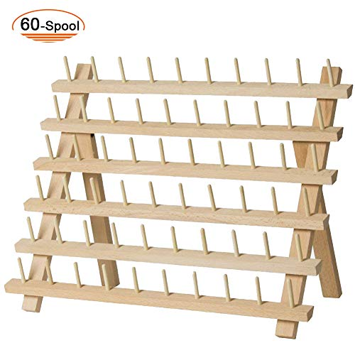 SAND MINE Wooden Thread Rack Sewing and Embroidery Thread Holder (60 Spool) ()