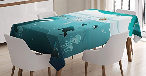 Arctic Sun Tabletop (Rectangle Table Cover Subaquatic Life in Arctic Circle with Fisherman Iceland Penguins Jellyfish Cotton Linen Table Cover for Kitchen Dinning Tabletop Decoration 60X104inch)