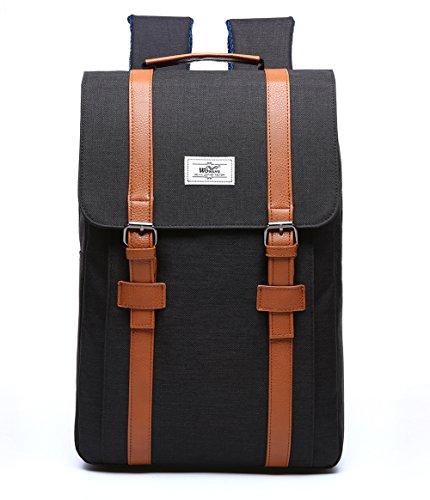 Fexkean Laptop Rucksack Backpack Vintage Canvas für bis zu 15.6 zoll Laptop Notebook Computer Arbeit Campus Studenten Outdoor Reisen Wandern mit Großer Kapazität(Grey-207) 207-schwarz 3H6Z7b