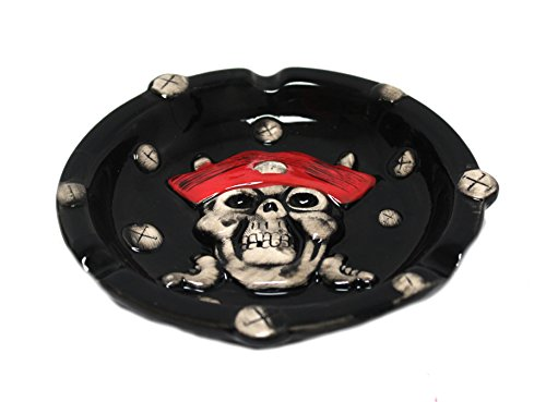 Cheap  Royal Brands Ceramic Ashtray - Pirate Skull Design - Quality Painted Red..