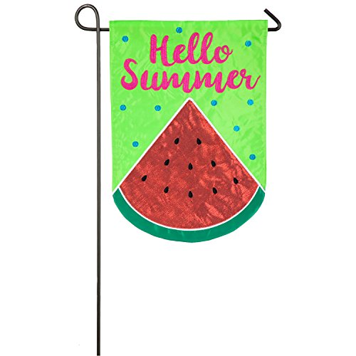 Evergreen Hello Summer Watermelon Outdoor Safe Double-Sided Applique Garden Flag, 12.5 x 18 inches