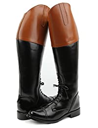 Hispar Women Ladies Pull On Fox Hunting Field Boots Without Back Zipper Tan Top