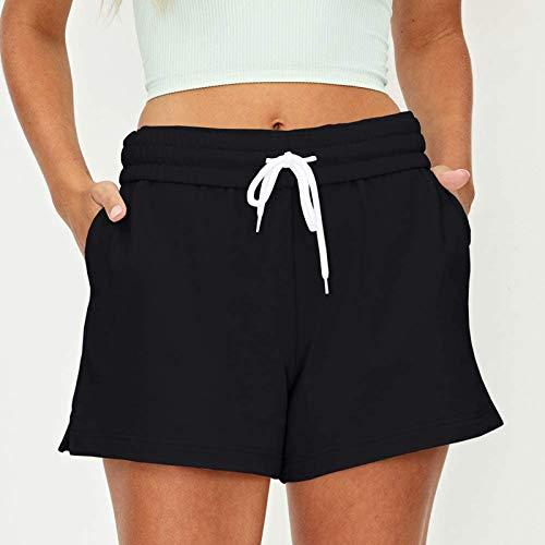 CloudLg Women's Casual Summer Shorts Drawstring Comfy Sweat Shorts Elastic High Waist Running Shorts with Pockets