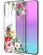 Clear Case for Huawei P30 Lite with Screen Protector,QFFUN Ultra Thin Slim Fit Soft Transparent Silicone Phone Case Crystal TPU Bumper Shell Scratch Resistant Protective Cover - Flower
